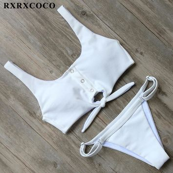 RXRXCOCO Solid Bikini Sets 2017 Sexy Sport Bikini Adjustable Buttom Swimsuit Women Padded Swimwear Summer Beachwear Bathing Suit