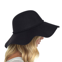 Braid Around The Rim Wool Floppy Hat In Black