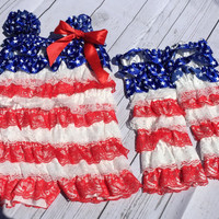 Patriotic Flag July Infant Girl Toddler Baby Infant Romper Toddler Romper Baby Romper Stars Stripes Red White Blue with Leggings Bows Lace