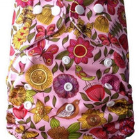 Pink Floral Adjustable AIO Reusable Baby Cloth One Size Diaper
