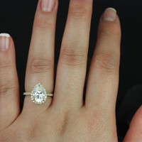 Tabitha 10x7mm 14kt Yellow Gold Pear FB Moissanite and Diamonds Halo Engagement Ring (Other metals and stone options available)