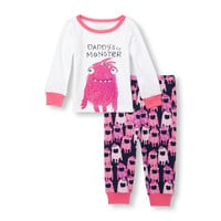 Baby And Toddler Girls Glow-In-The-Dark Long Sleeve 'Daddy's Lil Monster' Graphic Top And Printed Pants PJ Set | The Children's Place