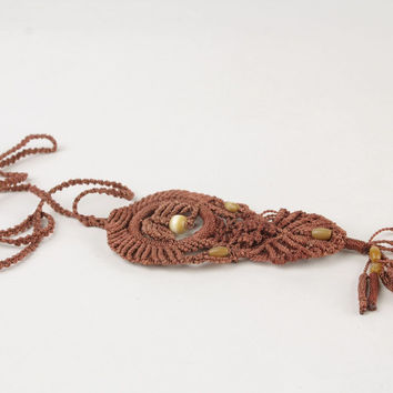 Brown handmade macrame pendant ankars tatting technique necklace jewelry