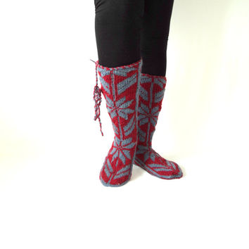 Christmas , Red and Blue ,Warm , Long ,Cozy ,Wool Socks ,Mukluk ,Long Slippers