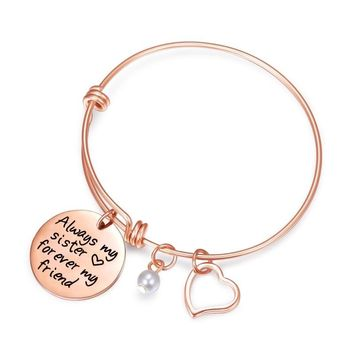 "Sister Bracelet Charms Bracelet Quote Adjustable Bangle Stainless Steel Sister Jewelry""Always my sister forever my friend"""
