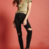 Ripped High-Rise Skinny Jeans