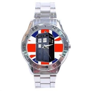 Doctor Who Tardis Union Jack British Flag Classic Stainless Steel Watch