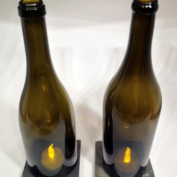 Recycled Wine Bottle - Wine Bottle Hurricane Set (2) - Home Decor - Repurposed Wine Bottle - Centerpiece -Outdoor Lighting