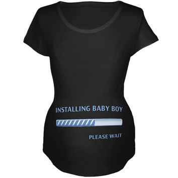 Installing Baby Boy Funny Black Maternity Soft T-Shirt