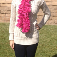 Hot Pink Glitter Ruffle Scarf by TheFiercestFandom on Etsy