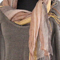 Natural Linen Scarf Striped Unisex Gray Brown Beige Shawl Organic Spring SALE