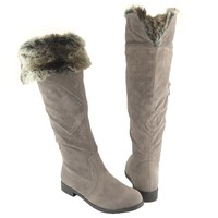 Womens' Over the Knee Faux Fur Collar Knee High Suede Flat Boots Gray