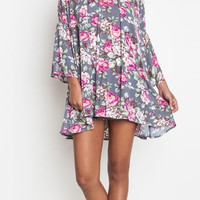 Flying First Class Grey Floral Dress