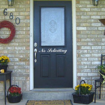 No Soliciting Decal for Front Door Window Wall Vinyl Decal Welcome Entry Quote