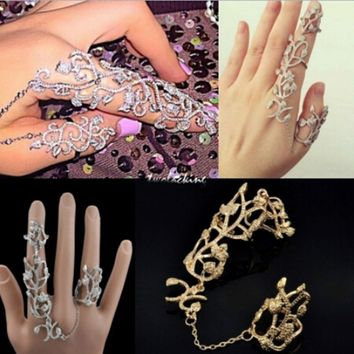 Womens Rings Multiple Finger Stack Knuckle Band Crystal Rings