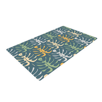 """Julia Grifol """"My Leaves on Blue"""" Woven Area Rug"""