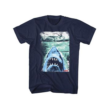 Jaws Tall T-Shirt Distressed Folded Movie Poster Navy Tee