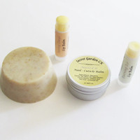 All Natural Gift Set - Solid Body Scrub, 2 Lip Balms, Nail- Cuticle Balm - Gift for Her/ Him - Natural Spa Set - Gift for Mother