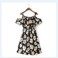 Summer Print Spaghetti Strap Ruffle Strapless Slim Skirt One Piece Dress [4917832772]