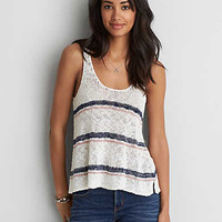 AEO Strappy Back Tank , Cream