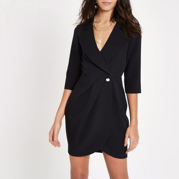 Black bodycon wrap tux mini dress - Bodycon Dresses - Dresses - women