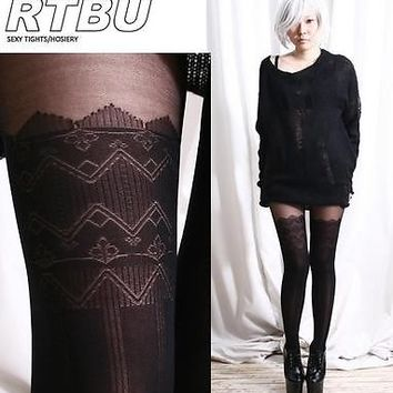 False Hold up Thigh Hi Stocking ZigZag Pantyhose Tights