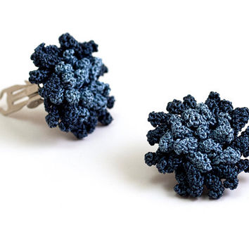 Blue Rose Crochet Clip On Earrings - Fibert Art Jewelry - Textile Statement Jewelry - Ottoman Tile Motif