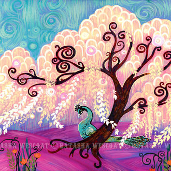White Willow Swirly Tree Art LIMITED Edition Canvas Print Natasha Wescoat