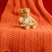 Crocheted blanket in Persimmon orange, afghan, throw