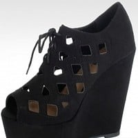 Soda RESIST-H-9-3 Cut Out Lace Up Wedges Women Wedges BLACK Bare Feet Shoes