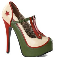 Military Themed T-Strap Pump by Bordello