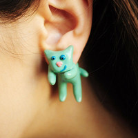 $25.00 Mint cat earrings ear studs fake gauges  mint earrings by Rozibuz
