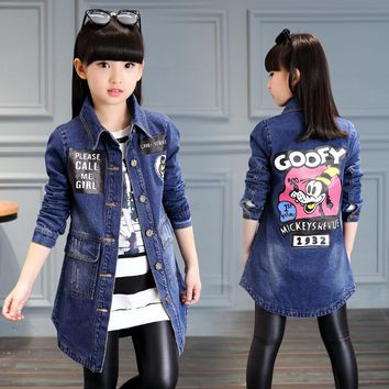 Fashion Coat 2018 Big Girl Clothes Spring Autumn Button Solid Jackets Female Children Cartoon Clothing Kids Denim Overcoat