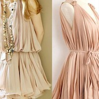Pleated chiffon dress--SKIN COLOR from shoponline4