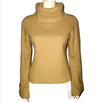 70s Camel Silk & Angora Huge Cowlneck Sweater with Cuffed Flared Sleeves M/L