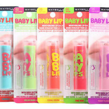5 Set Maybelline Baby Lips Balm Twinkle Melon Coral Pink Plummy Multiple Flavor