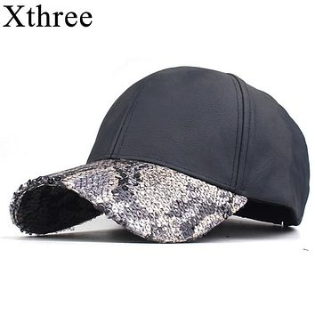 Snake Skin Print Bib Faux Leather Cap