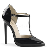 Black Patent T-Strap d'Orsay Sexy Heels
