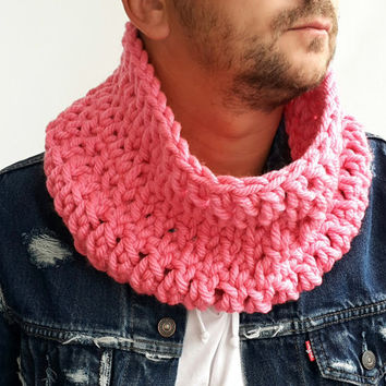 PINK SCARF MENS Hand Crochet Scarf Soft Infinity Mens Braided Cable Boho Cowl Loop Crochet Slouchy Mens Scarf Slouch Beanie Hand Winter