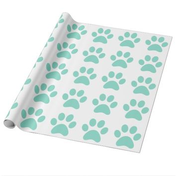 Pretty Puppy Paw Print Wrapping Paper
