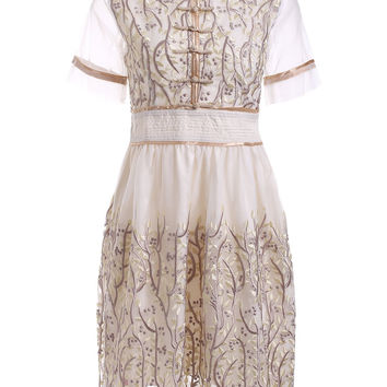 Vintage Floral Hand Embroidered Collared Dress