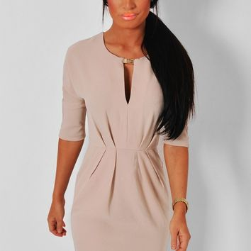 Torah Nude & Gold Effect Mini Dress | Pink Boutique