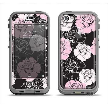 The Pink and Black Rose Pattern V3 Apple iPhone 5c LifeProof Nuud Case Skin Set