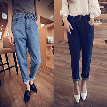 Women's  High Waist Washed Light Blue True Denim Pants Boyfriend Jean Female For Women Jeans