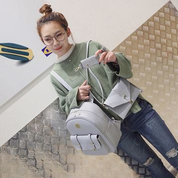 Fashion Leather Backpack Women Cute 3 Sets Bag
