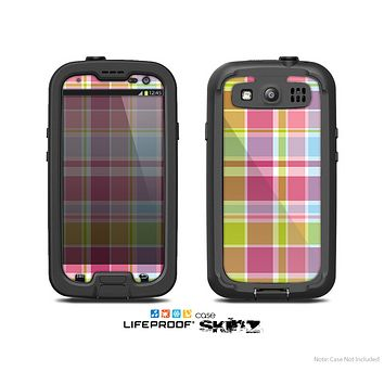 The Yellow & Pink Plaid Skin For The Samsung Galaxy S3 LifeProof Case