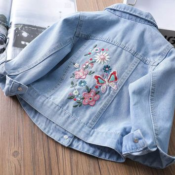 Casual Denim Jacket For Baby Girls Spring&autumn Clothing Tops Coats 2018 Children Baby Outwear Jeans Jackets 2 3 4 6 8 Years