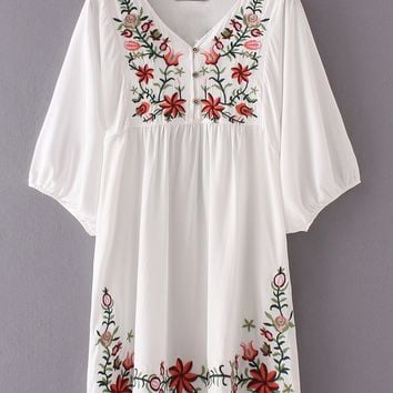 Hibiscus Embroidered Loose Dress