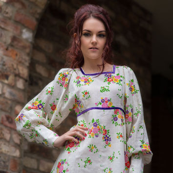 Early 70s Mini Dress - Vintage Dress - Bishop Sleeves - Hippy Boho Style Floral Dress - Exc Cond - XS