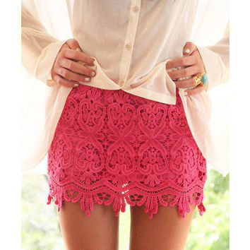 Cute Pink Lace Skirt